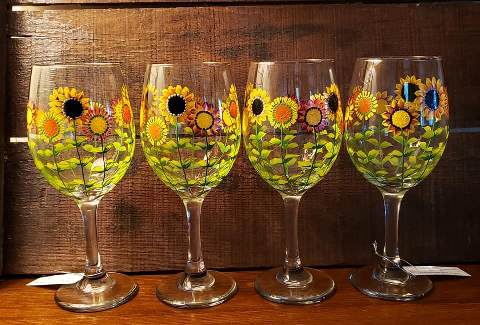 painted sunflower wine glasses
